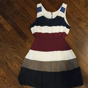 Fall colored striped pleated dress